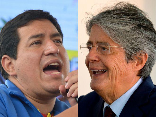Andrés Arauz (i) y Guillermo Lasso (d) fueron anunciados como los candidatos presidenciales que disputarán el balotaje en Ecuador.