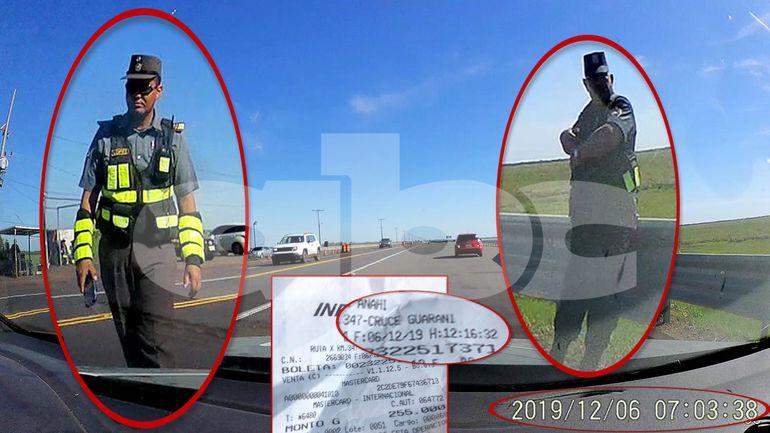Orr presentó fotos tomadas por la cámara de su vehículo. En las imágenes quedó registrado el horario en el que pasaron por la barrera de la Caminera.
