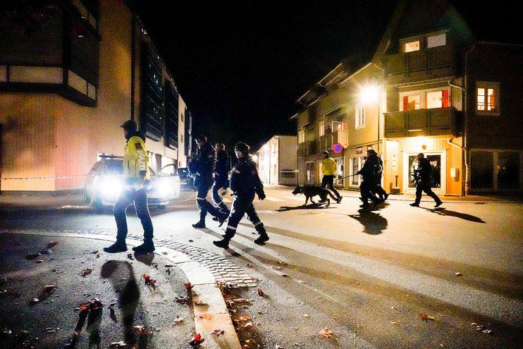 Equipos de emergencia y la Policía de Noruega durante la intervención tras conocerse el ataque con arco y flecha en la ciudad de Oslo.