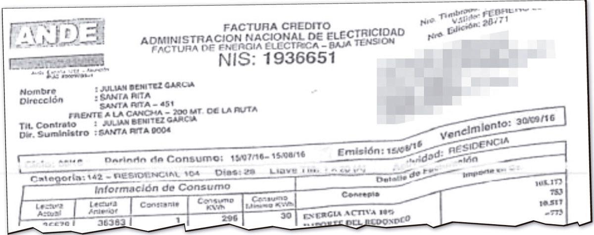 Factura de la ANDE a nombre del compatriota presuntamente falsificada y presentada para el registro de la compañía de portafolio.