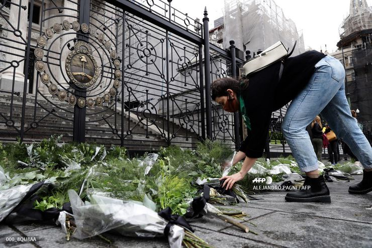 Activists of Amnesty International place bouquets armed with parsley and other herbs used to induce abortions, at the doors of the National Congress in Buenos Aires, September 27, 2020 on the eve of the Global Day of Action for Access to Legal and Safe Abortion. (Photo by ALEJANDRO PAGNI / AFP)
