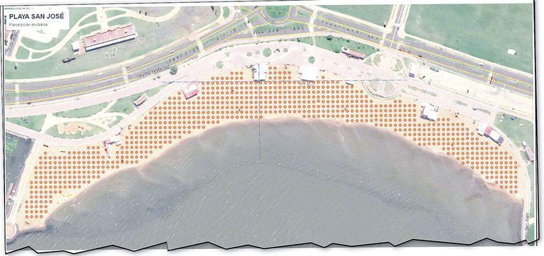 Esta imagen muestra la proyección de la playa San José y la posición de burbujas, que aquí se marcan en pequeños círculos rojos.