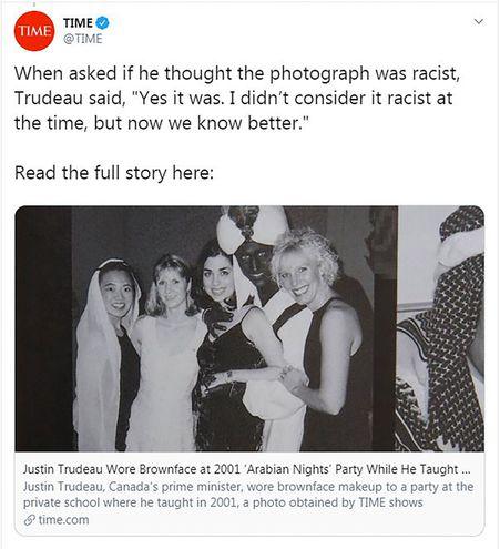 Esta imagen de la revista Time en su cuenta de Twitter muestra al primer ministro de Canada, Justin Trudeau, con la cara pintada de negro.