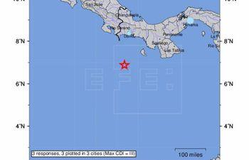 Fotografía que muestra la locación del sismo con magnitud 6,1 con epicentro a 130 kilómetros al sur de Punta Burica, en el litoral Pacífico de Panamá, hoy 17 de julio de 2021.