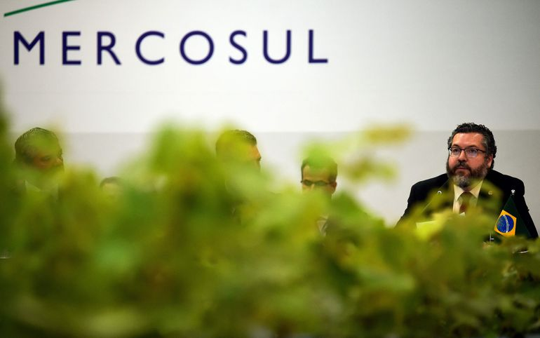 El ministro de Exteriores brasileño Ernesto Araújo durante la cumbre de cancilleres del Mercosur en Bento Gonçalves, este miércoles.
