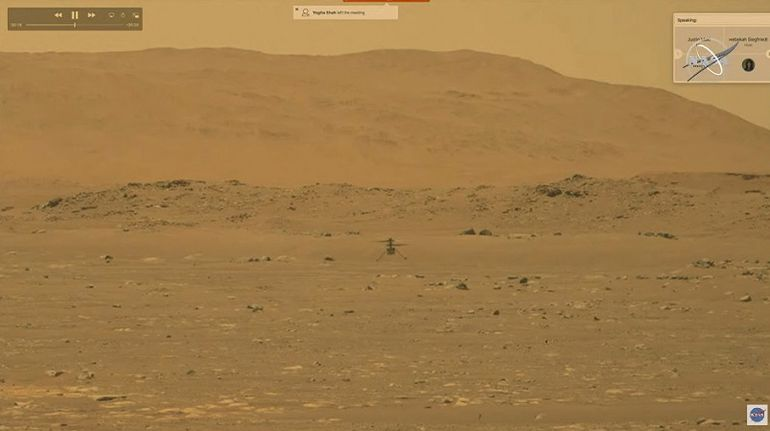 Helicóptero de la NASA realiza un histórico primer vuelo en Marte. (AFP PHOTO / NASA)