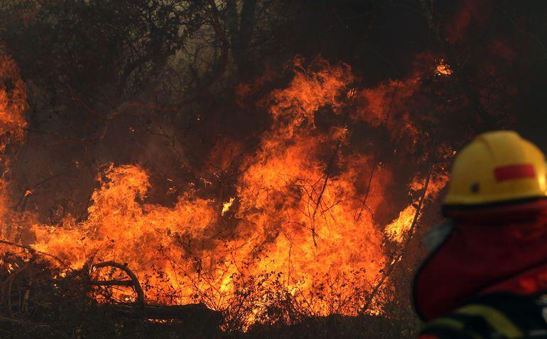 Un bombero trabaja en aplacar un incendio cerca de Robore, Santa Cruz.