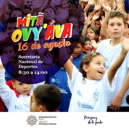 Actividad organizada por el gobierno por el día del niño.