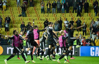 Los jugadores del Sheriff celebrando la victoria en la Liga de Campeones