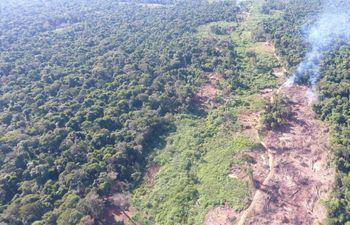 Foto aérea de  la reserva  de Marina Cue, de 2018, en el contexto de denuncias de rollotráfico, cultivos de marihuana, etc.