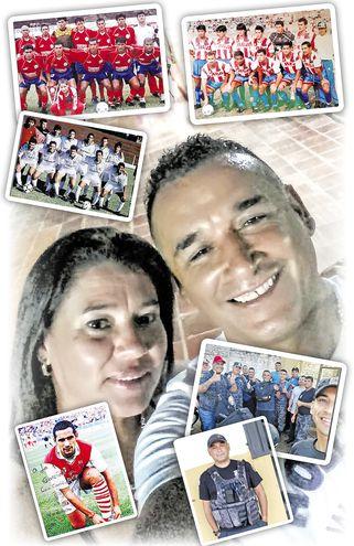 Composición de imágenes de Luis Molinas en su época de futbolista y en su función actual de guardiacárcel.