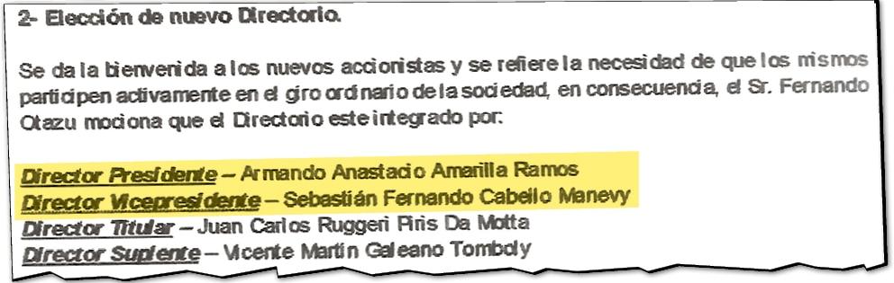 Gerente y cuñado de Campos Cervera asumen la presidencia y vicepresidencia de Barrail Hermanos.