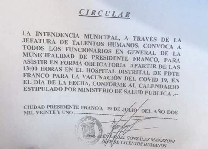 La polémica circular emitida en la Municipalidad de Presidente Franco. Luego, fue corregido con la supresión de la obligatoriedad de la vacunación.