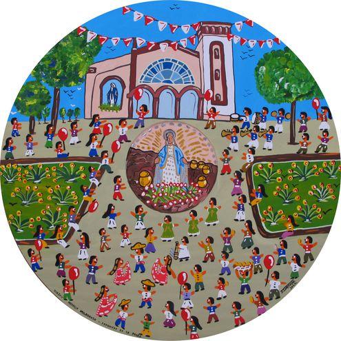 Coloridas pinturas dan vida a las fiestas patronales interpretadas por Julio Insfrán.