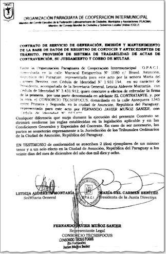 Parte del contrato firmado el año pasado entre la presidenta de la Opaci María del Carmen Benítez y Fernando Muñoz Sanier, de Tecsisfocus, no homologado por la ANTSV.