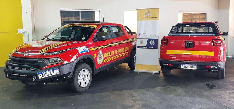 Los dos vehículos de intervención rápida son de la marca FIAT, modelo Toro, año 2021.