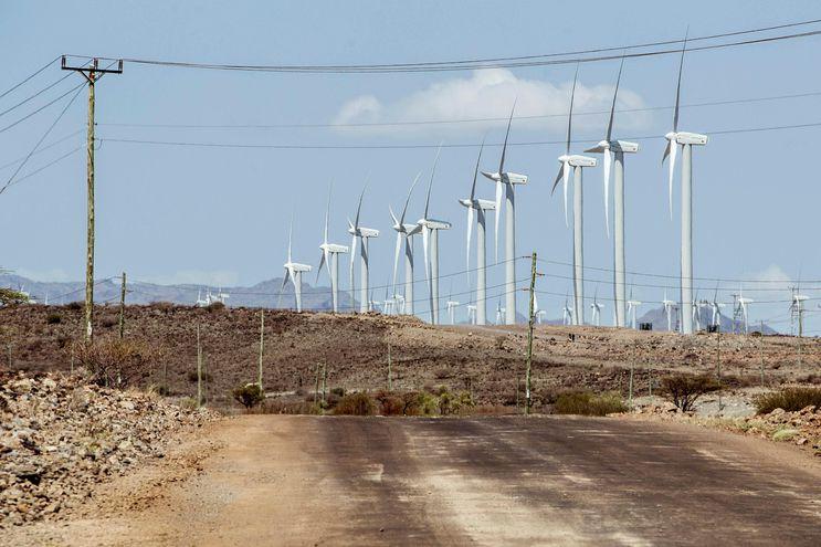 Vista del parque eólico de África, localizado en el remoto condado de Marsabit (nororeste), que dispone de una capacidad máxima de 310 megavatios.