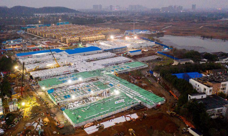 Vista aérea del hospital Huoshenshan, en Wuhan.