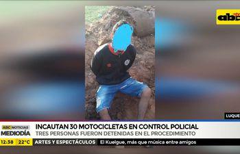Incautan 30 motocicletas en control policial de Luque