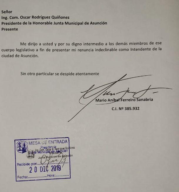 Documento de la renuncia oficial de Mario Ferreiro a la Municipalidad de Asunción.