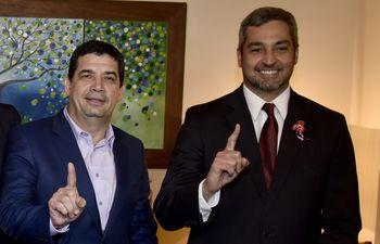 El vicepresidente Hugo Velázquez y el presidente Mario Abdo.