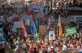 Manifestantes durante la huelga del clima en Wellington.