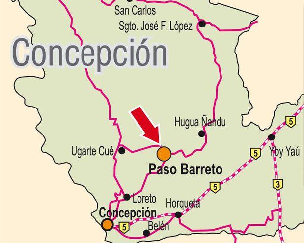 La estancia supuestamente atacada se encuentra en Paso Barreto.