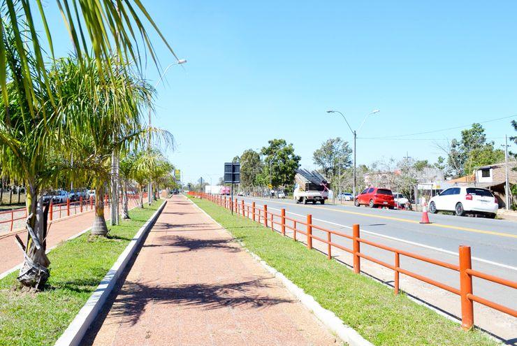 Ciclovía de Villa Florida situada sobre la Ruta 1 Mariscal López. La comunidad celebra el 6 de setiembre próximo su 139 aniversario.