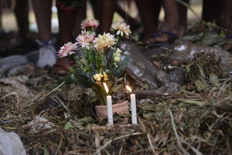 Marcha por la niña indígena asesinada en la zona donde fue arrojado su cadáver, cerca de la Terminal de Ómnibus de Asunción.