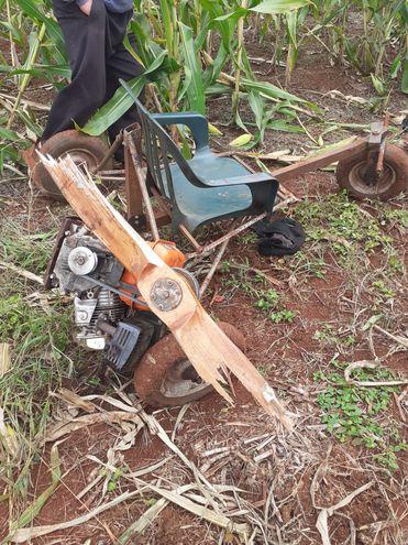 Las hélices del precario vehículo se quebraron en pleno trayecto.