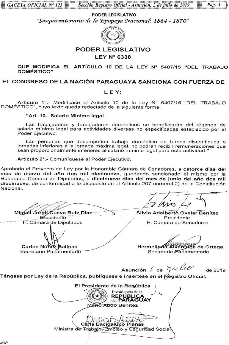 Decreto de promulgación de la ley de trabajo doméstico.