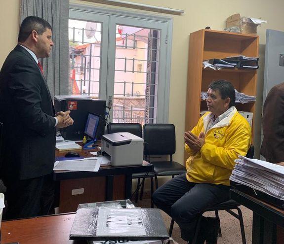 Aristides Morales, declarando en la Fiscalía.