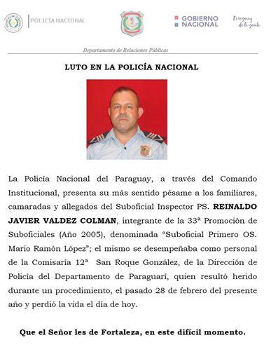 Publicación de la Policía Nacional sobre el fallecimiento del suboficial inspector Reinaldo Javier Valdez Colmán.