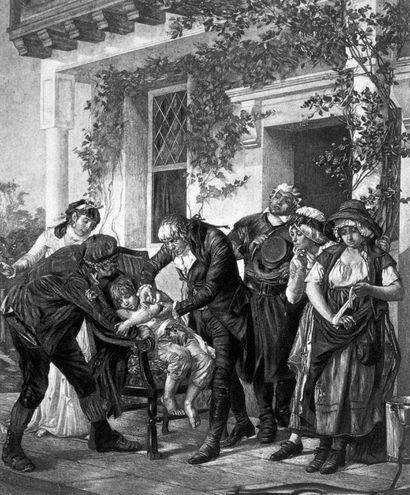 Edward Jenner, médico y pionero de la vacunación, vacunando a James Phipps de 8 años con para proporcionar inmunidad contra la viruela.