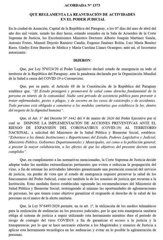 Facsímil de la Acordada 1.373 que reglamenta la reanudación de Actividades en el Poder Judicial, cuya entrada en vigencia fue postergada hasta el próximo lunes 20 de abril.