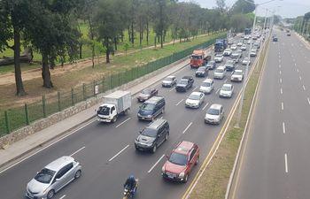 Conductores reportaron que se registró un gran embotellamiento desde muy temprano en la zona del Corredor Vial.