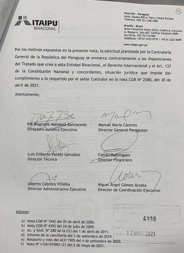 Parte final de la nota remitida por Itaipú a la Contraloría General de la República.