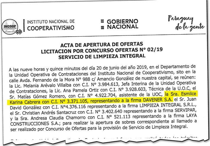 Acta de apertura de ofertas de la Licitación Nº 02/2019 del Instituto Nacional de Cooperativismo (Incoop), donde aparece Esmilce Karina Cabrera como representante de Davener SA.