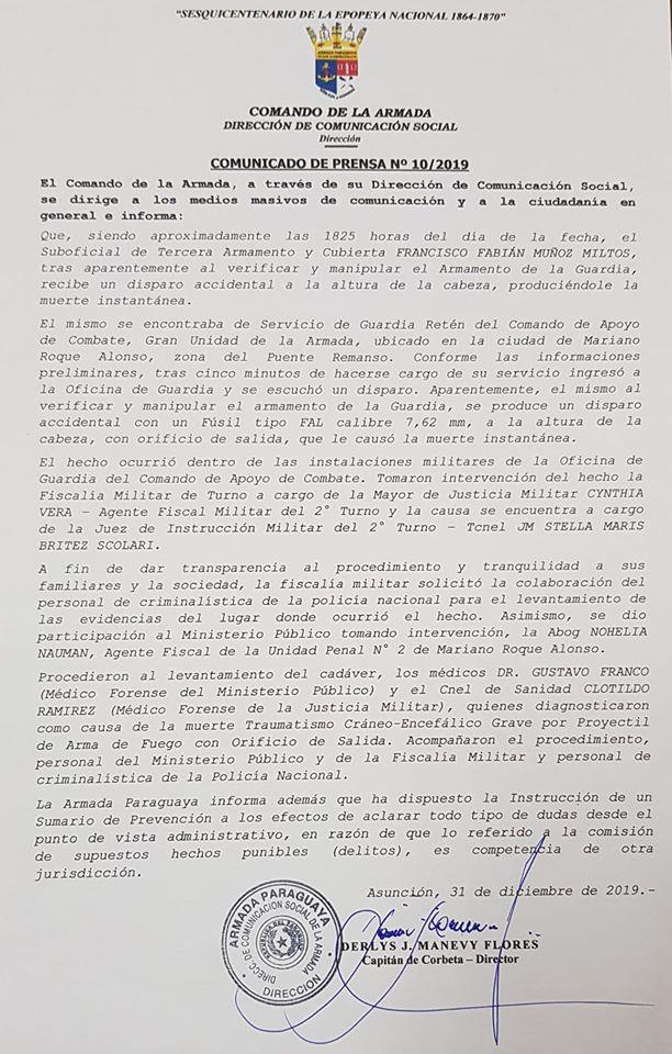 Comunicado del Comando de la Armada sobre la muerte del joven Francisco Muñoz