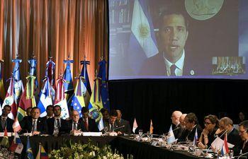 El presidente del Parlamento venezolano, Juan Guaidó, durante una videoconferencia con el Grupo de Lima, reunido en Buenos Aires este martes.