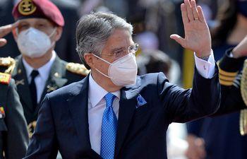 El nuevo presidente de Ecuador, Guillermo Lasso, a su legada a la Asamblea Nacional (Ecuador) para la toma de posesión.  (Rodrigo BUENDIA / AFP)