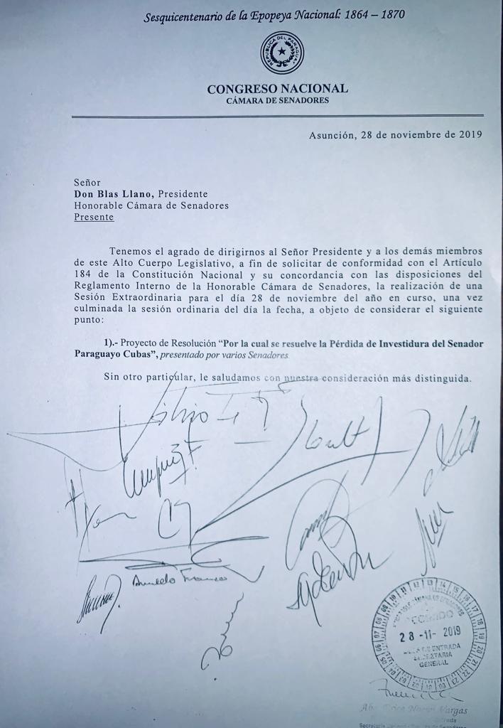 El Senado convocó a sesión extraordinaria para tratar la pérdida de investidura de Paraguayo Cubas.