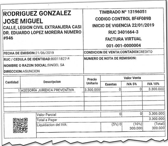 Unas de las facturas que emitió José Rodríguez González, alias Joselo, a una empresa vinculada a Alcides Jiménez, asesor del actual Gobierno para el acuerdo entreguista al Brasil.