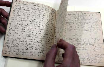 Manuscritos originales de Franz Kafka que forman parte de la colección de la Biblioteca Nacional de Israel.