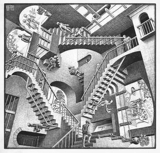 M. C. Escher: Relatividad (litografía, 1953).