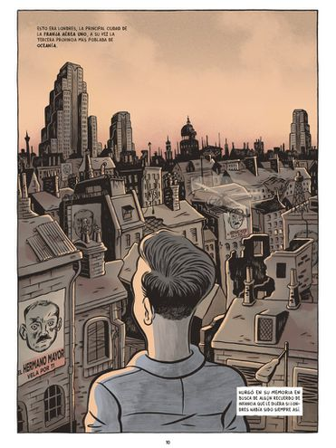 """Imagen de una de las páginas de la novela gráfica """"1984"""", lanzada por la editorial española Debolsillo."""