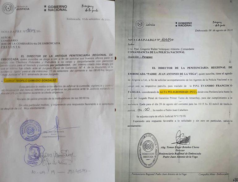 """A la izquierda la nota donde se solicita cobertura policial para el traslado de Jorge Samudio """"Samura"""", a la derecha otra nota donde si se resalta que se trata de un interno de alta peligrosidad."""