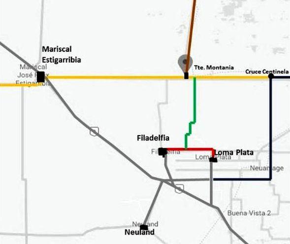 Conexión Bioceánica (alimentador) con núcleos urbanos de 37 km, en color verde, y la Línea Norte, 26 km, en rojo (gentileza).