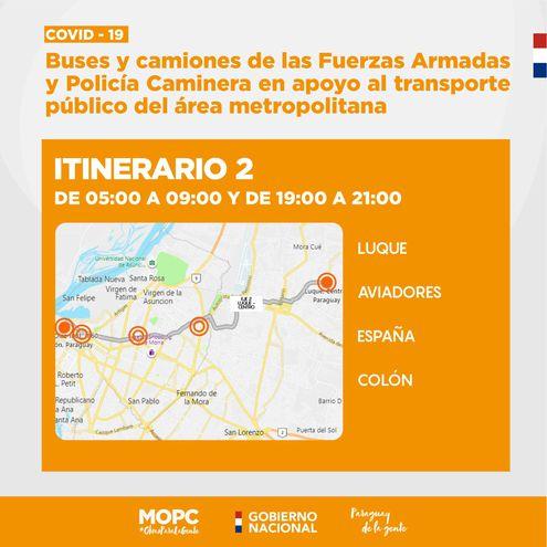 Itinerarios fijados para tratar de paliar regulada de transportistas.
