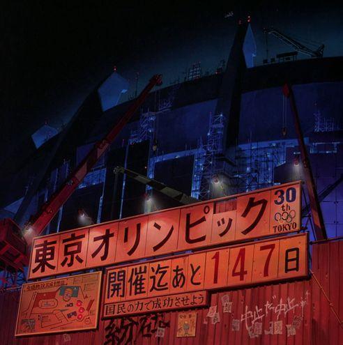"""""""147 días para las Olimpiadas de Tokio"""" reza un cartel fuera del incompleto estadio olímpico en la adaptación al cine de """"Akira""""."""